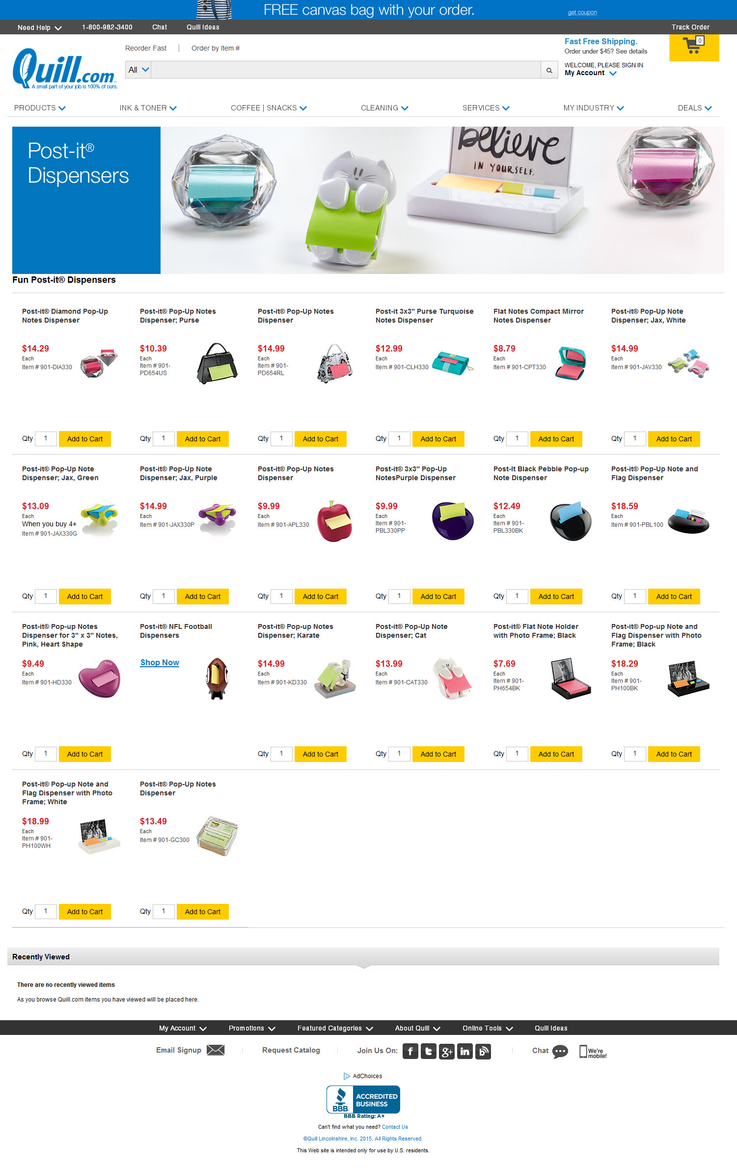 Post-it® Dispensers product page