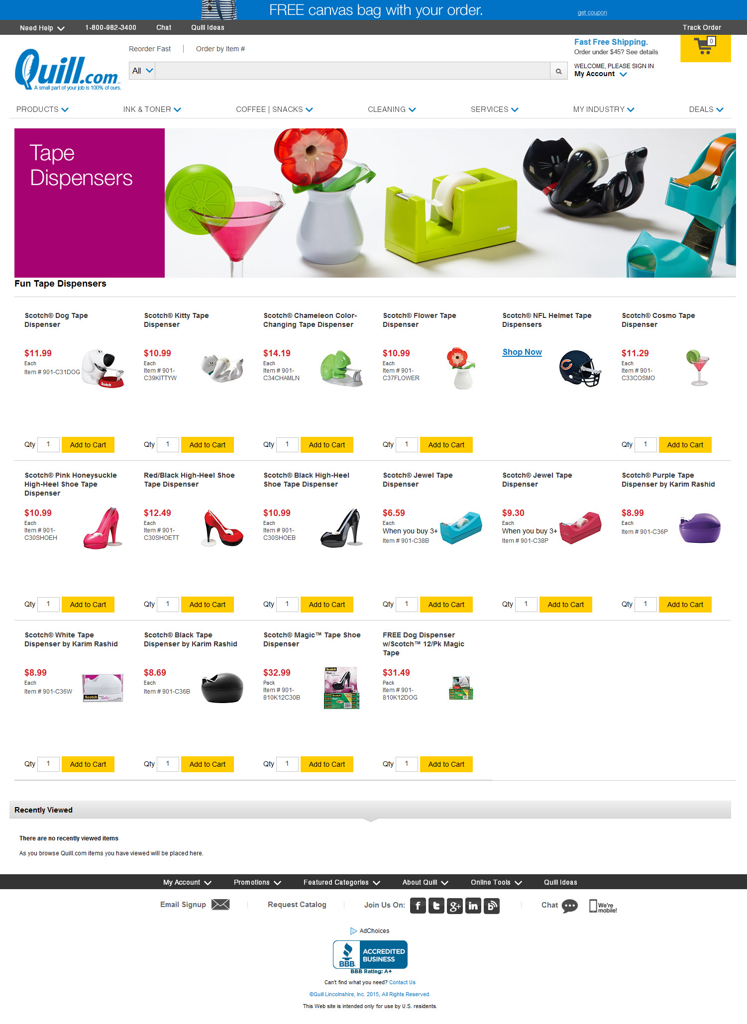 Tape Dispenser product page