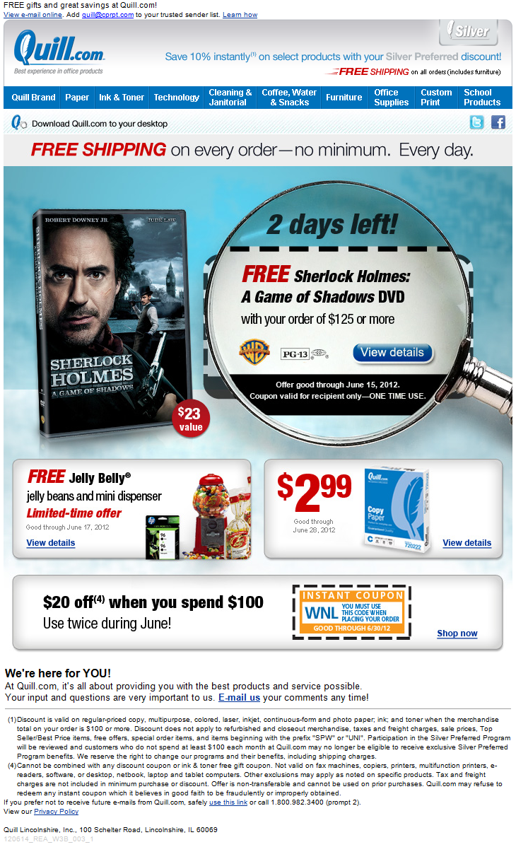 Sherlock Holmes Movie email promotion