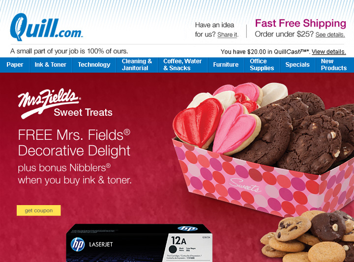 2015 Free Mrs. Fields® Sweet Treat with purchase campaign—Main Email Spot