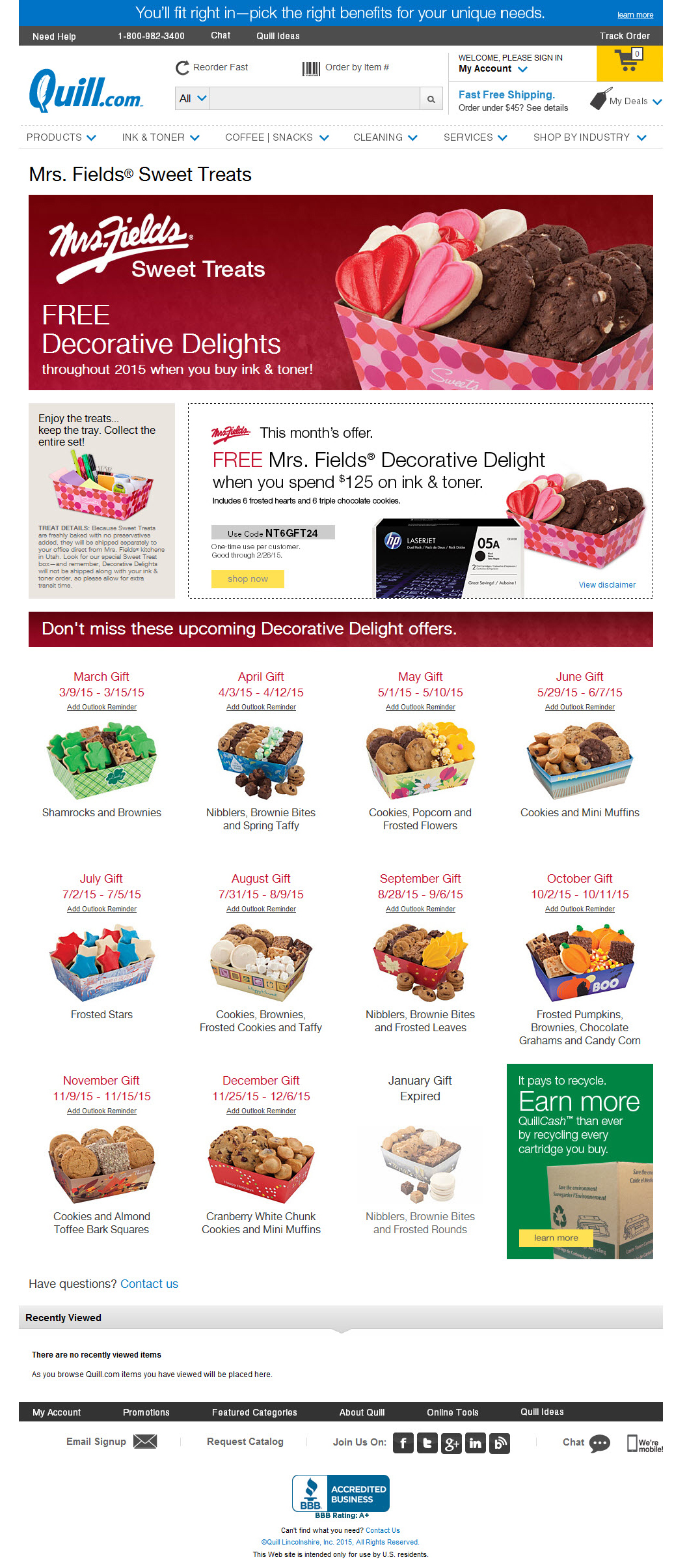 2015 Free Mrs. Fields® Sweet Treat with purchase campaign—Active Landing Page