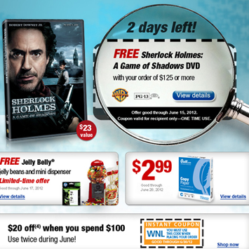 Sherlock Holmes Movie email promotion.